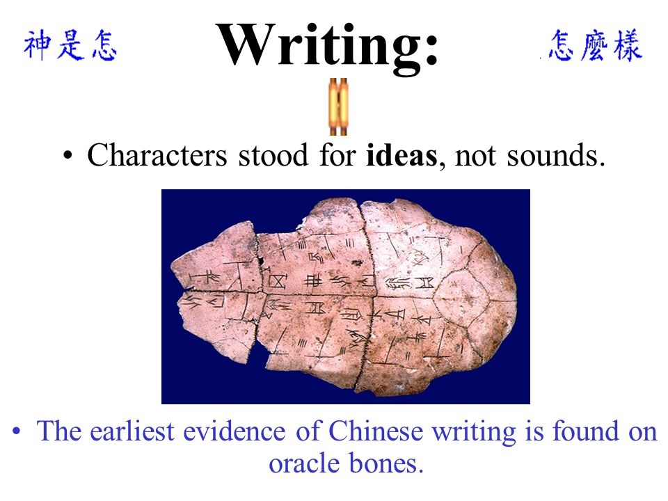 Writing: Characters stood for ideas, not sounds.