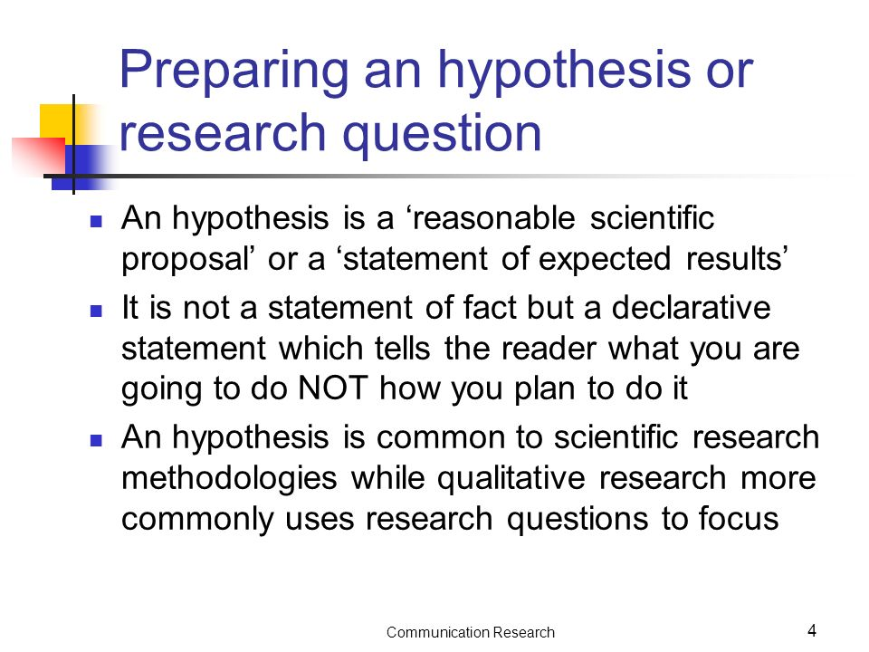 research studies results hypthesis