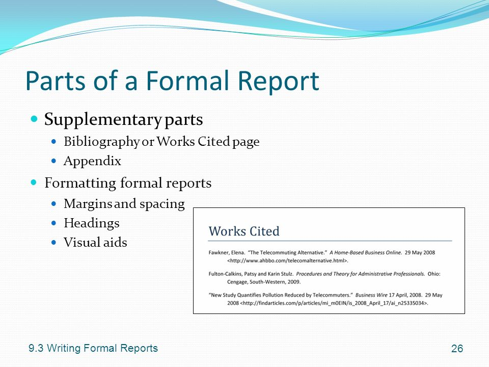 formal report using visual aids Formal report sample this sample is a model for your own writing aid in business decision making, and perform internal audits government accountants maintain and inspect financial records three components of formal reports sample formal report.