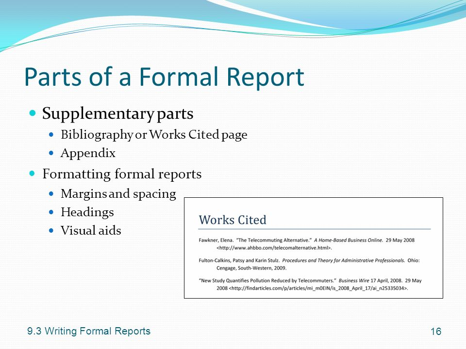 formal report using visual aids Some managers hold the mistaken belief that routine progress reports to their team must be formally presented  presentations is that you can use visual aids to .