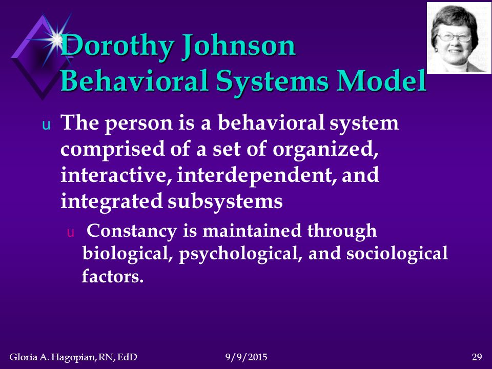 dorothy johnson behavioral system Dorothy johnson discusses her early life growing up in savannah, georgia, her teaching at vanderbilt and ucla, and in an interview with jacqueline fawcett in key largo, florida, she comments on her behavioral systems model and her interest in nursing as a science and a profession.