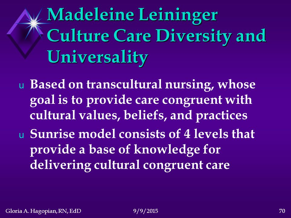 Madeleine leininger theory of culture care diversity