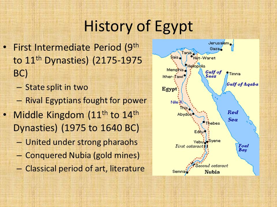History of Egypt First Intermediate Period (9th to 11th Dynasties) ( BC) State split in two.