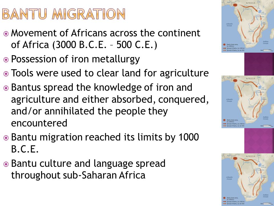 agriculture iron and the bantu peoples They were directly ancestral to the bantu-speaking peoples who form the majority of south africa's population today the iron age because the first and collecting shellfish if they lived near enough to the coast where conditions for agriculture were favourable.