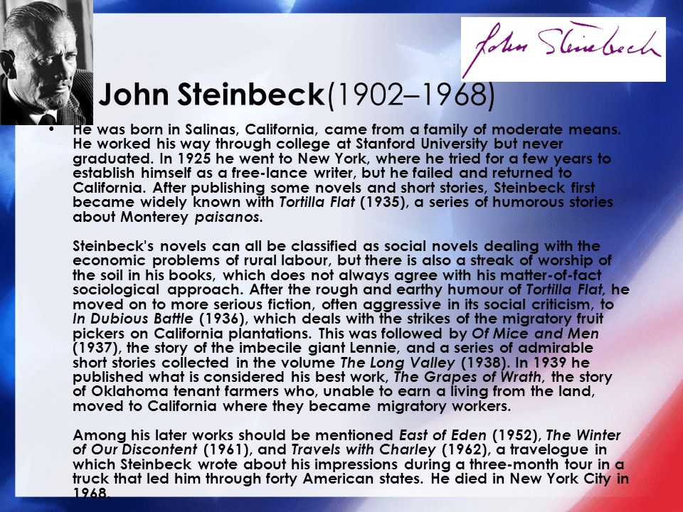 john steinbeck s short story flight Wealth flight on wn network delivers the latest videos and editable pages for   flight is a short story by american writer john steinbeck, first published in his.