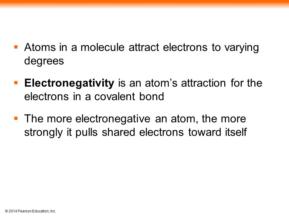 Atoms in a molecule attract electrons to varying degrees