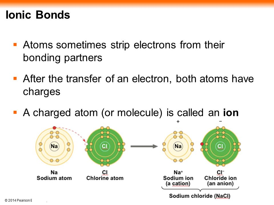 Ionic Bonds Atoms sometimes strip electrons from their bonding partners. After the transfer of an electron, both atoms have charges.