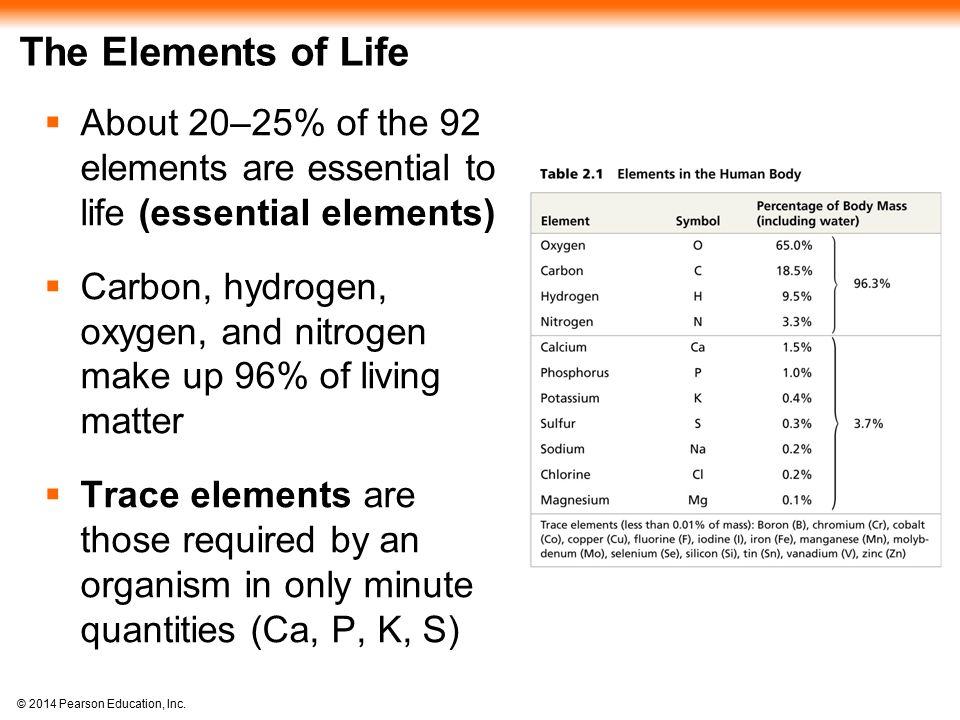 The Elements of Life About 20–25% of the 92 elements are essential to life (essential elements)