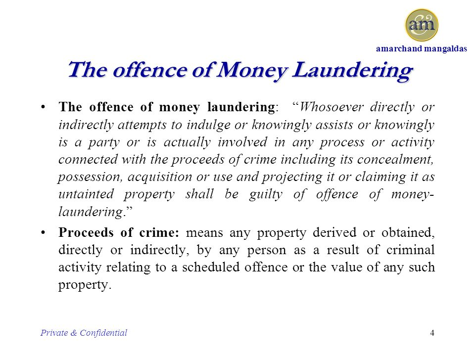 a prevention of money laundering from criminal activities Prevention of money laundering and funding of terrorism [sl 37301 1 subsidiary legislation 37301 prevention of money laundering and funding of terrorism regulations 1st january, 2018 legal notice 372 of 2017  ''criminal activity'' has the same meaning as is assigned to the term in the act.