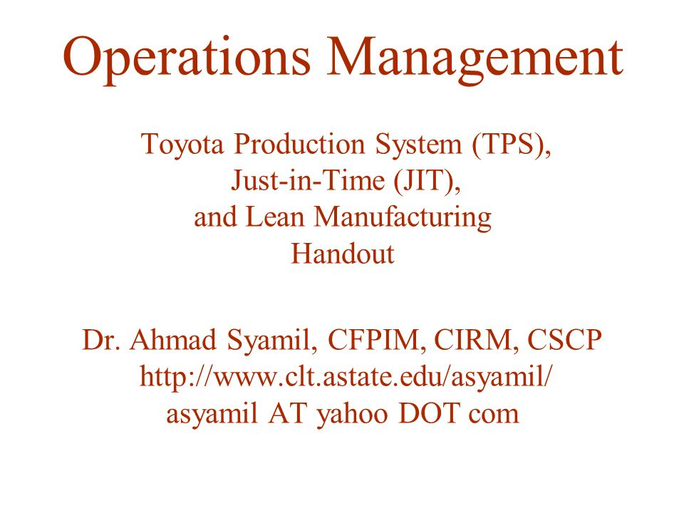 toyota operation management