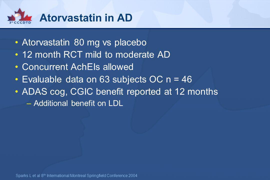 Atorvastatin in AD Atorvastatin 80 mg vs placebo