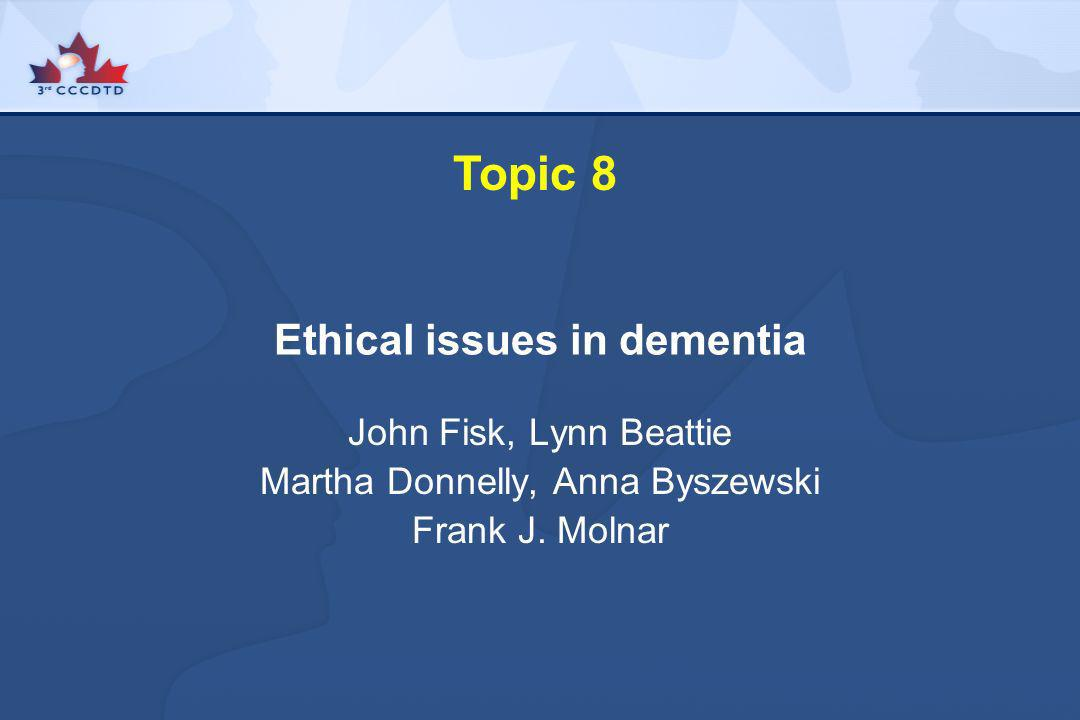 Ethical issues in dementia