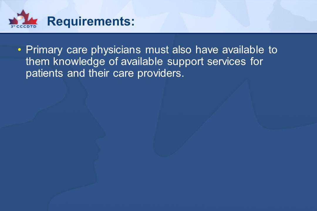 Requirements:Primary care physicians must also have available to them knowledge of available support services for patients and their care providers.