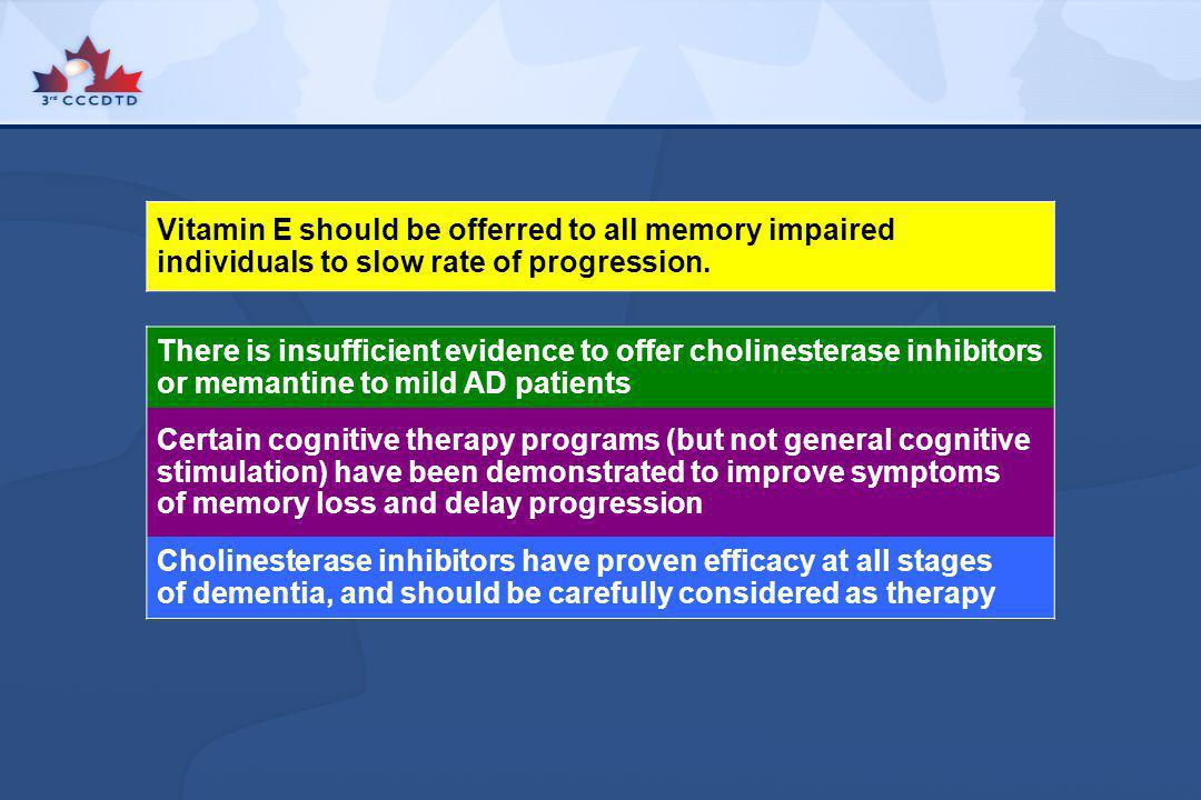Vitamin E should be offerred to all memory impaired individuals to slow rate of progression.