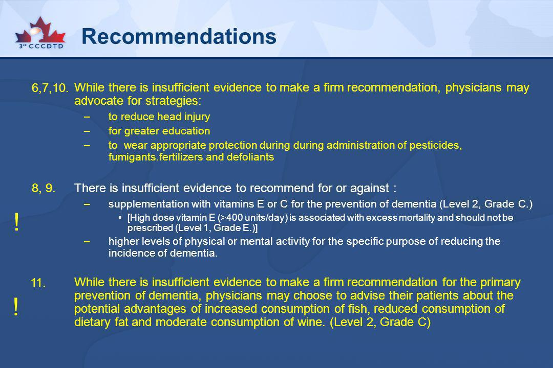 Recommendations 6,7,10. While there is insufficient evidence to make a firm recommendation, physicians may advocate for strategies: