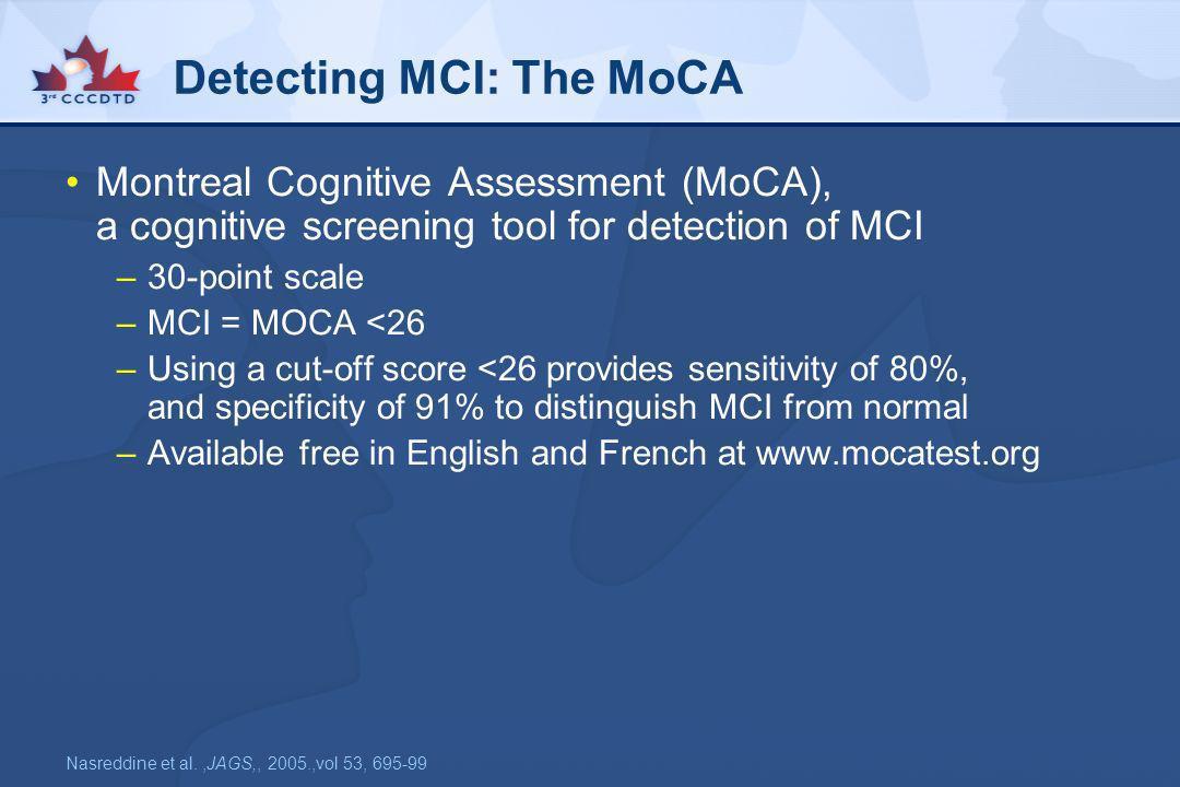 Detecting MCI: The MoCA
