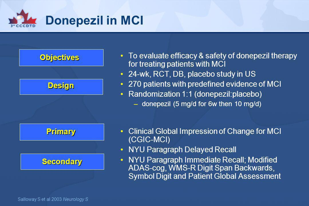 Donepezil in MCITo evaluate efficacy & safety of donepezil therapy for treating patients with MCI. 24-wk, RCT, DB, placebo study in US.