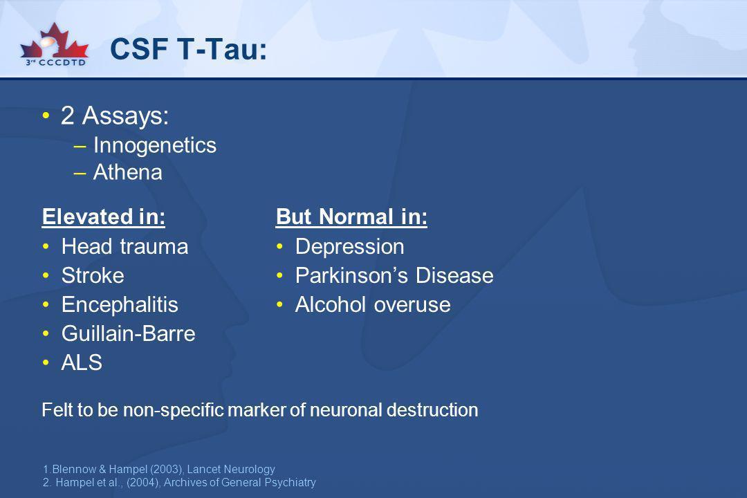 CSF T-Tau: 2 Assays: Innogenetics Athena Elevated in: Head trauma