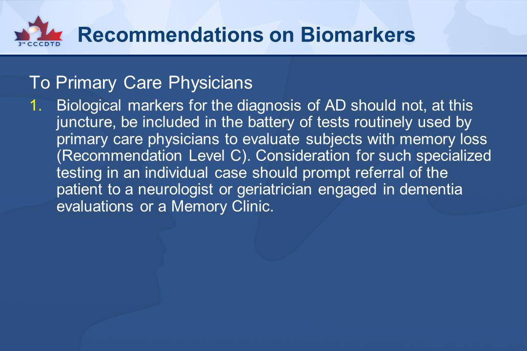 Recommendations on Biomarkers