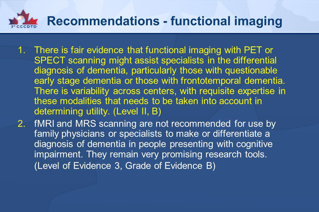 Recommendations - functional imaging