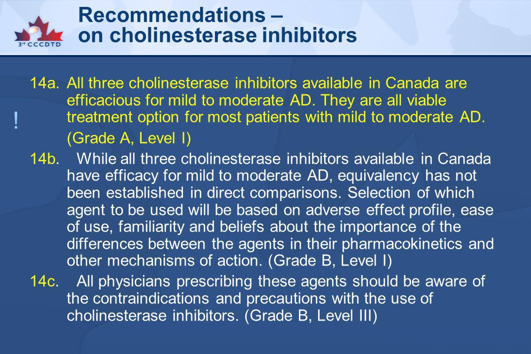 Recommendations – on cholinesterase inhibitors