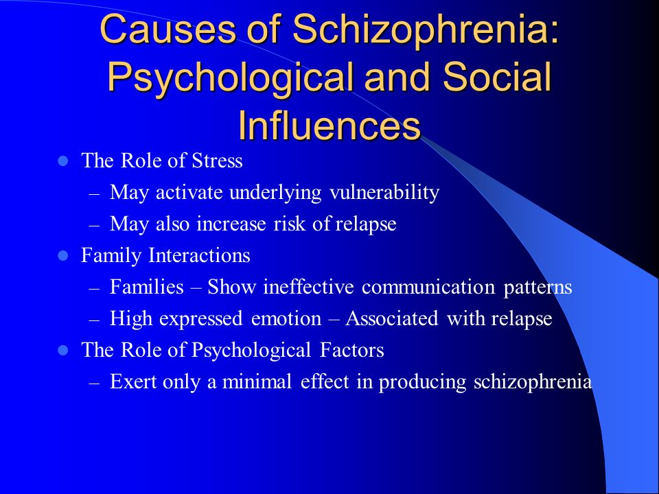 effects of having a schizophrenic family A support group provides a forum for family members to share their feelings about having a schizophrenic relative additionally, caregivers are encouraged to take personal time away from their relative.