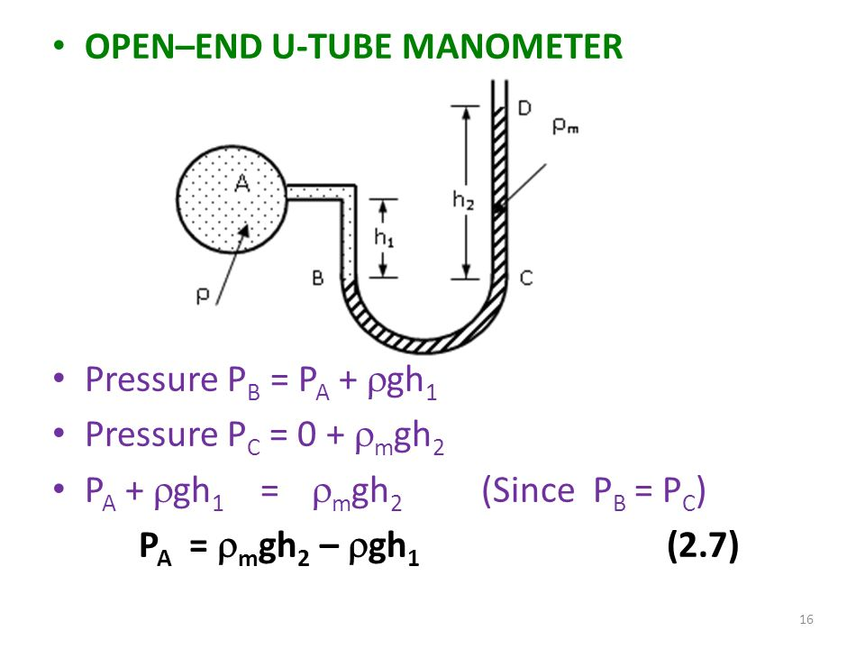 how to calculate pressure in an open end manometer
