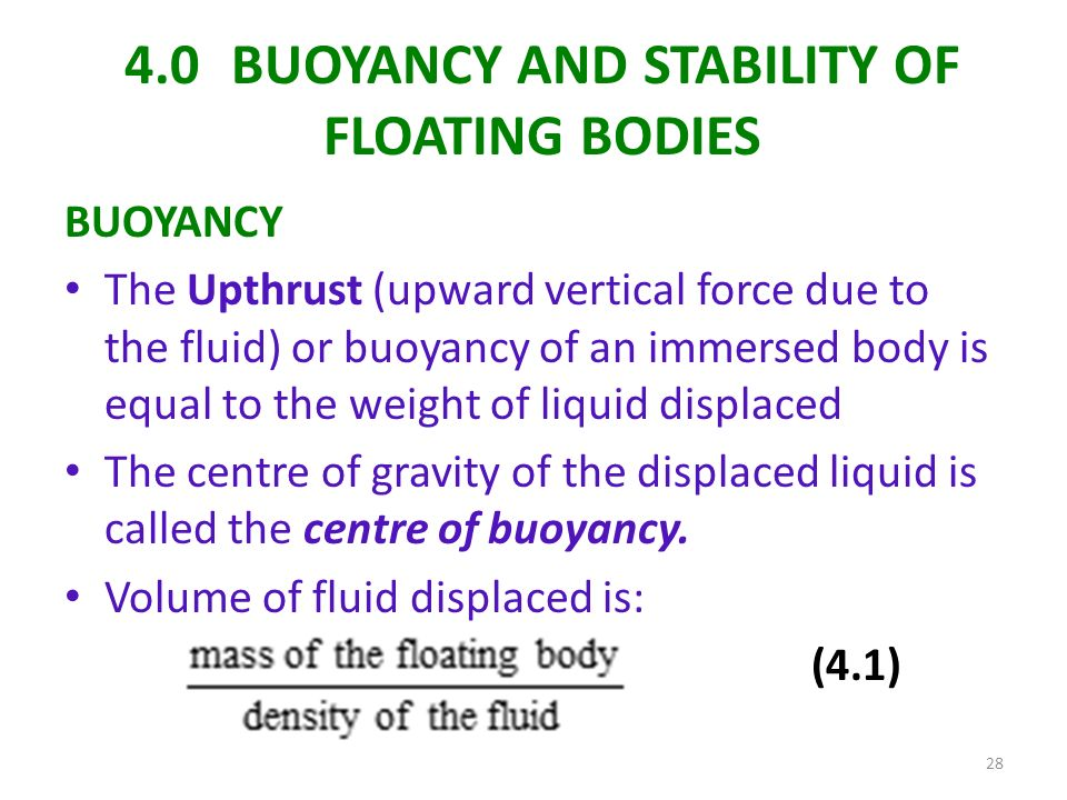 stability of floating bodies Questions & answers of fluid statics, manometry, buoyancy, forces on submerged bodies, stability of floating bodies.