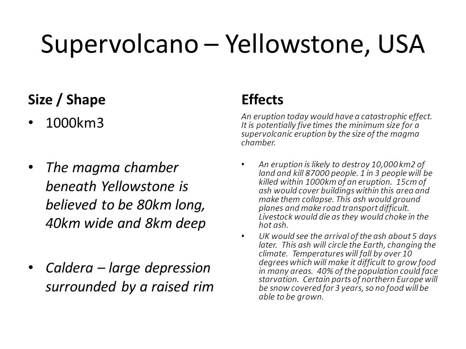 Supervolcano – Yellowstone, USA