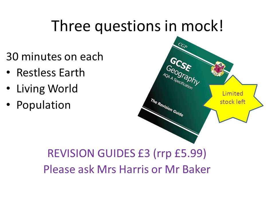 Three questions in mock!
