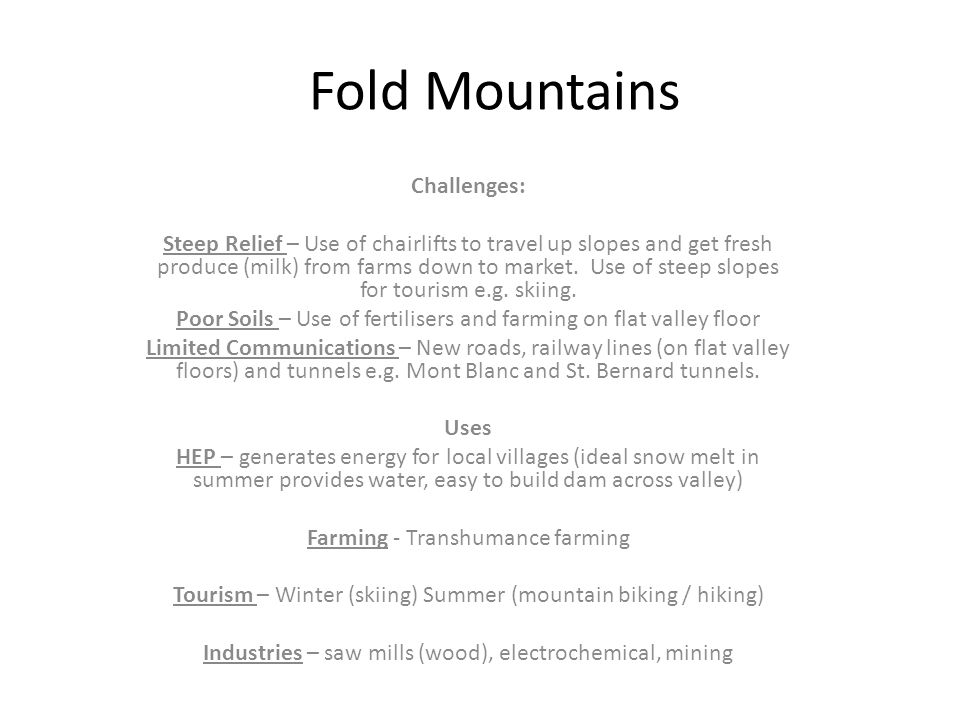 Fold Mountains Challenges: