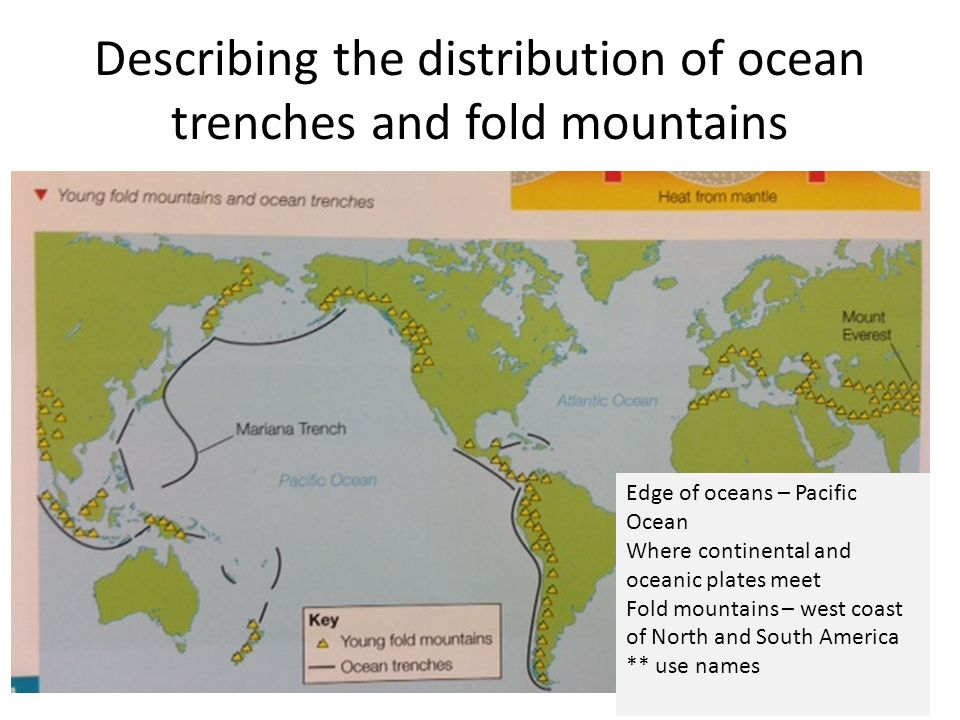 Describing the distribution of ocean trenches and fold mountains