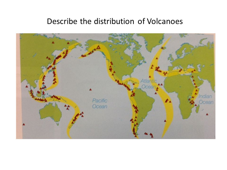 Describe the distribution of Volcanoes