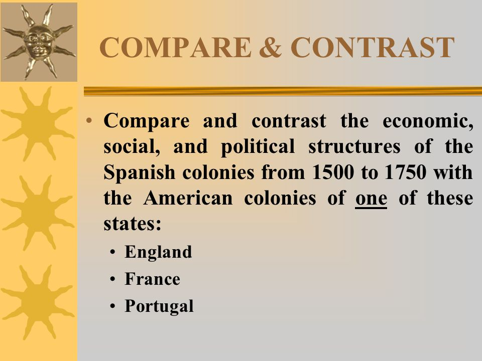 compare and contrast spanish and british colonies essay Compare and contrast the 13 colonies  13 colonies compare/contrast web  - to separate colonies from spanish.