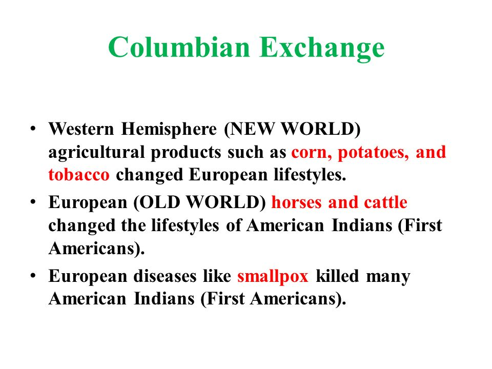 the columbian exchange and potatoes The columbian exchange refers to a period of cultural and biological exchanges between the new and old worlds exchanges of plants, animals, diseases and technology.