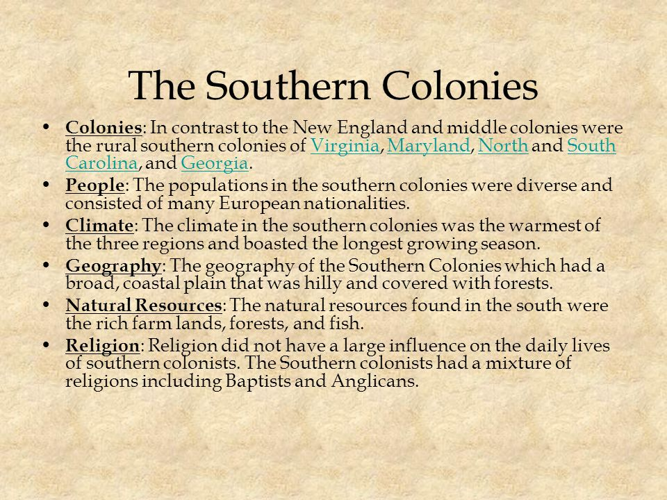 compare and contrast the new colonies of virginia maryland north carolina south carolina and georgia The southern british colonies in north america were the colony of virginia, province of north carolina, province of south carolina, and province of georgia the first successful english colony in n america was jamestown , established off the chesapeake bay in 1607.
