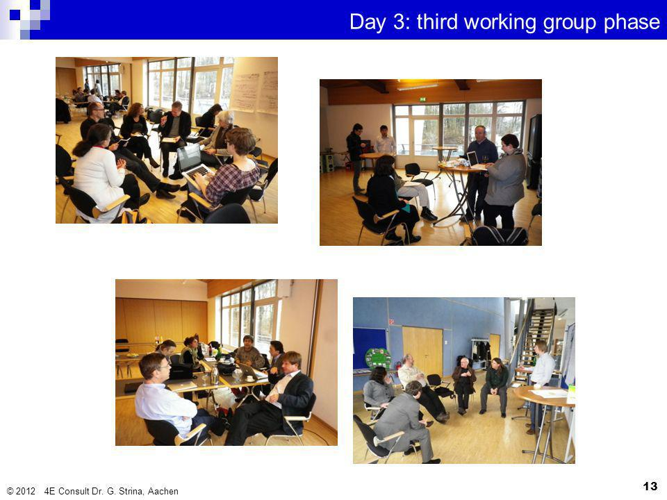 Day 3: third working group phase