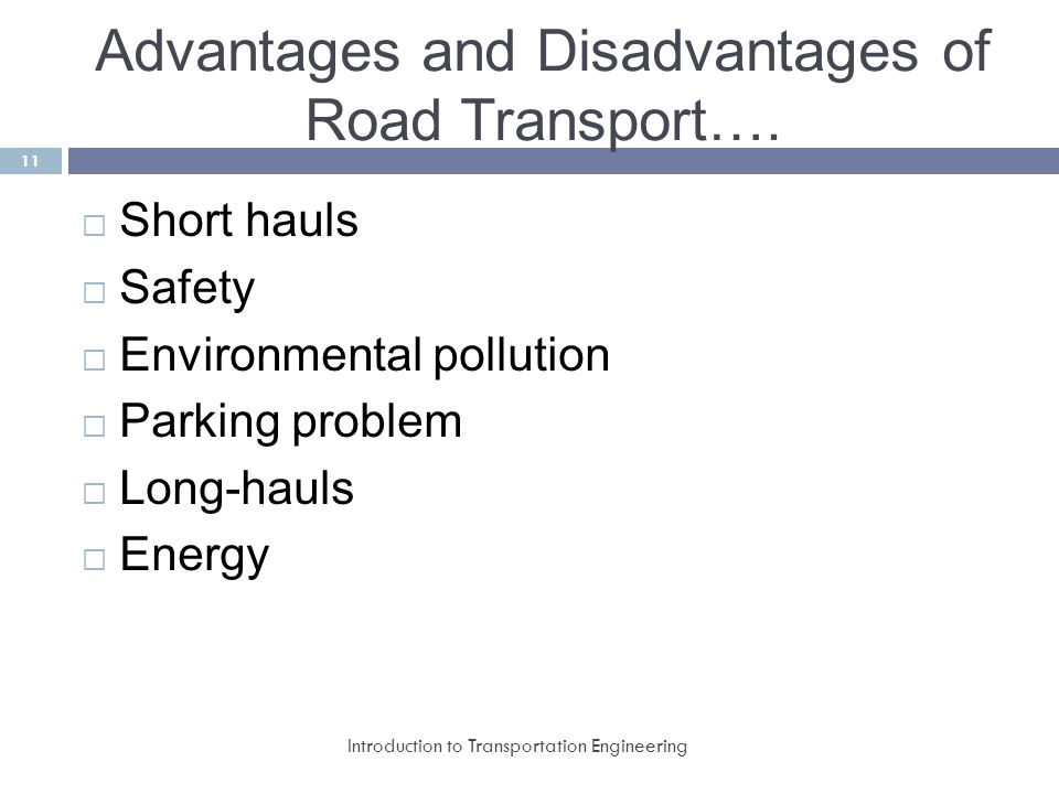 advantages of road transport Co 2 emission estimates for freight transport  what are some of the advantages of water transport  road transport alone contributes 45% of emissions of.