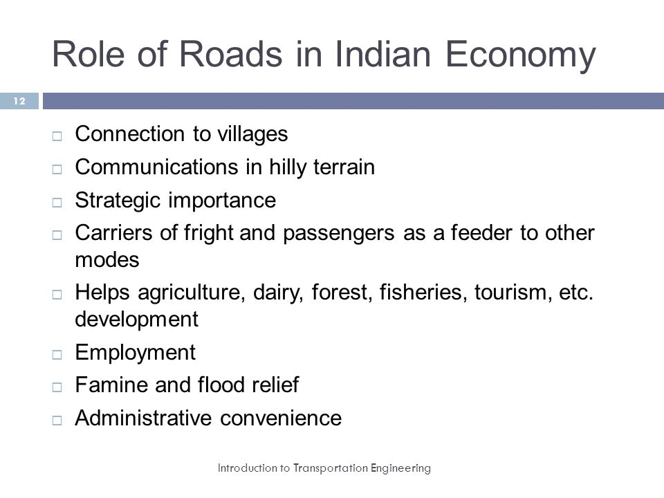 role of transportation in indian economy