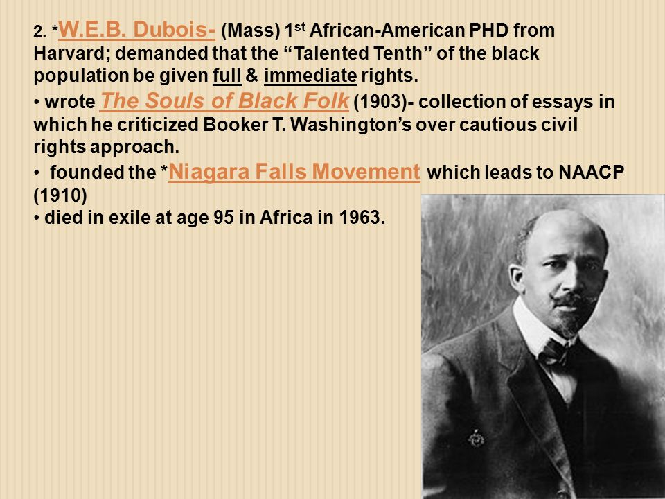 du bois talented tenth essay William edgar burghardt du bois essay du bois called for the most talented tenth of the black population to be educated to the largest degree possible so that.