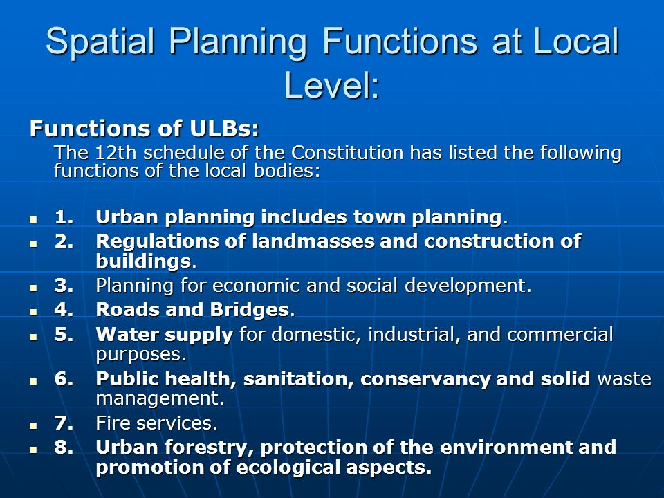 Spatial Planning Functions at Local Level: