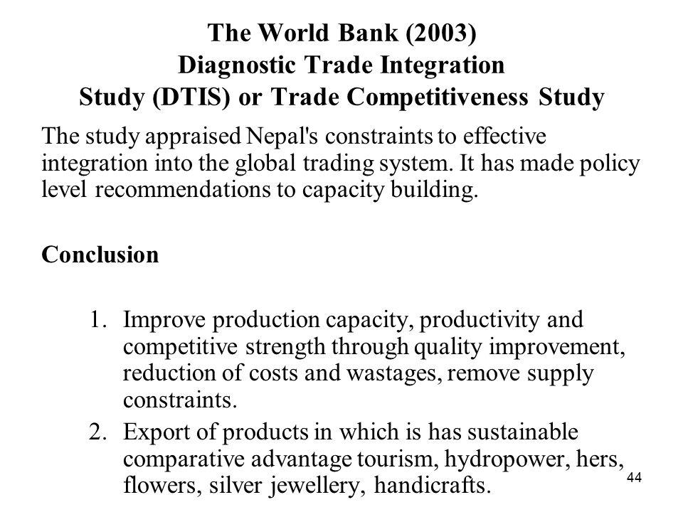 Diagnostic trade integration study
