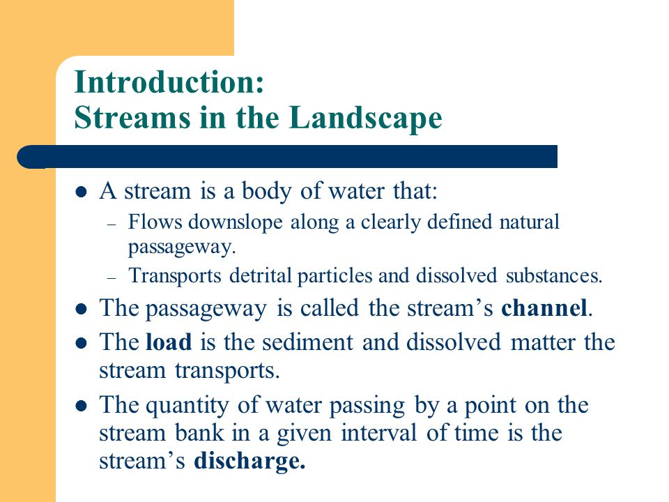 Introduction: Streams in the Landscape