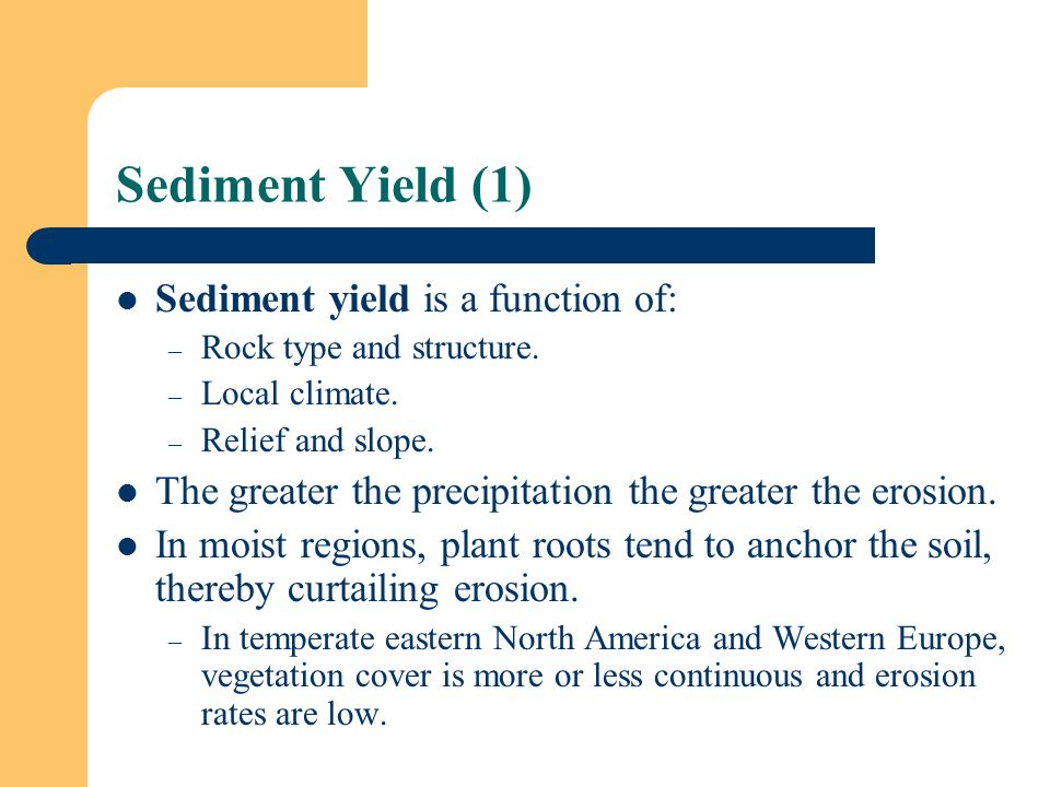 Sediment Yield (1) Sediment yield is a function of: