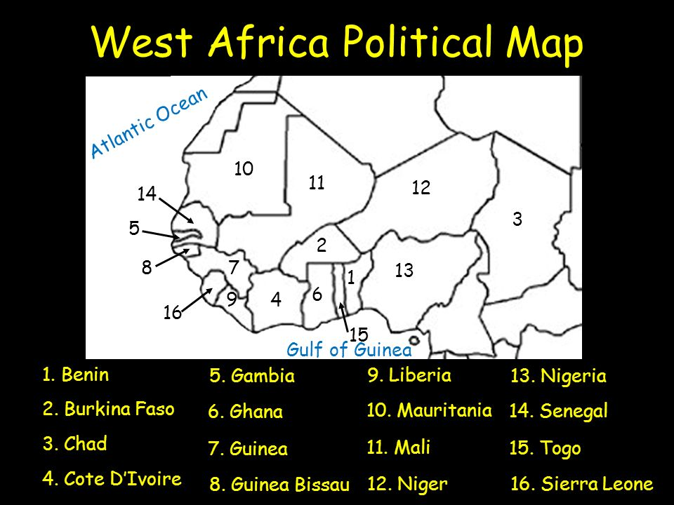 The geography of sub saharan africa ppt video online download west africa political map ccuart Images