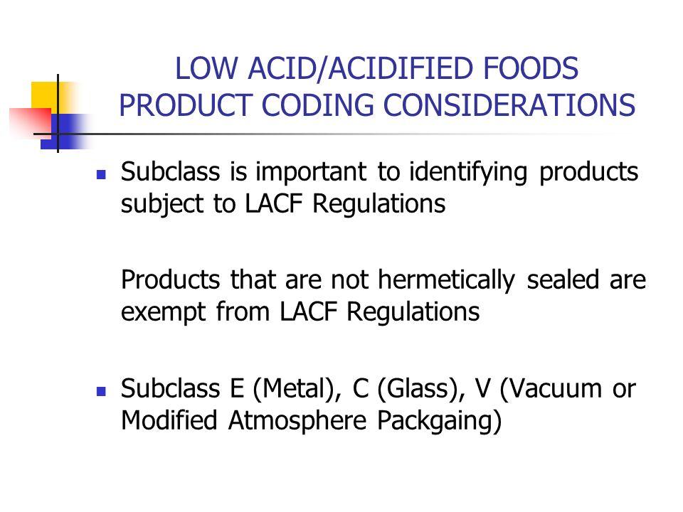 Low Acid Food V Acidified Food
