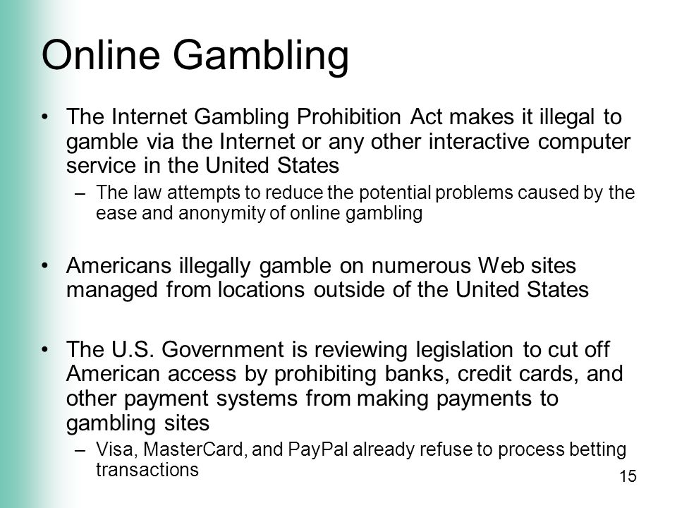 American internet gambling prohibition act casino free video slots