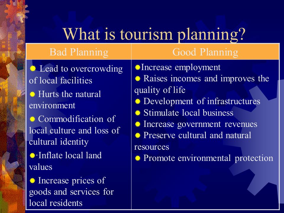 the value of the tourism planning Planning for tourism planning, community and local 16 despite this strong economic value, tourism is often inadequately represented or appreciated.