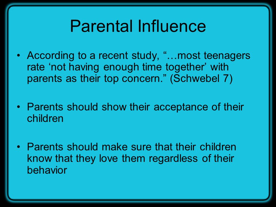 parents influence their children essay The parent-child relationship is most poignant as children view their parents as being the most significant role models in their lives parental involvement is essential in developing children that are academically motivated, engaged, and willing to succeed.