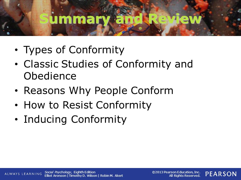 Summary and Review Types of Conformity